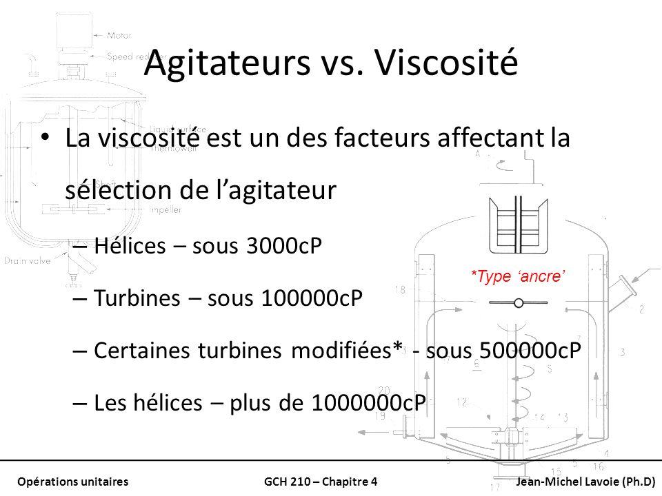Opérations unitairesGCH 210 – Chapitre 4Jean-Michel Lavoie (Ph.D) Agitateurs vs. Viscosité La viscosité est un des facteurs affectant la sélection de