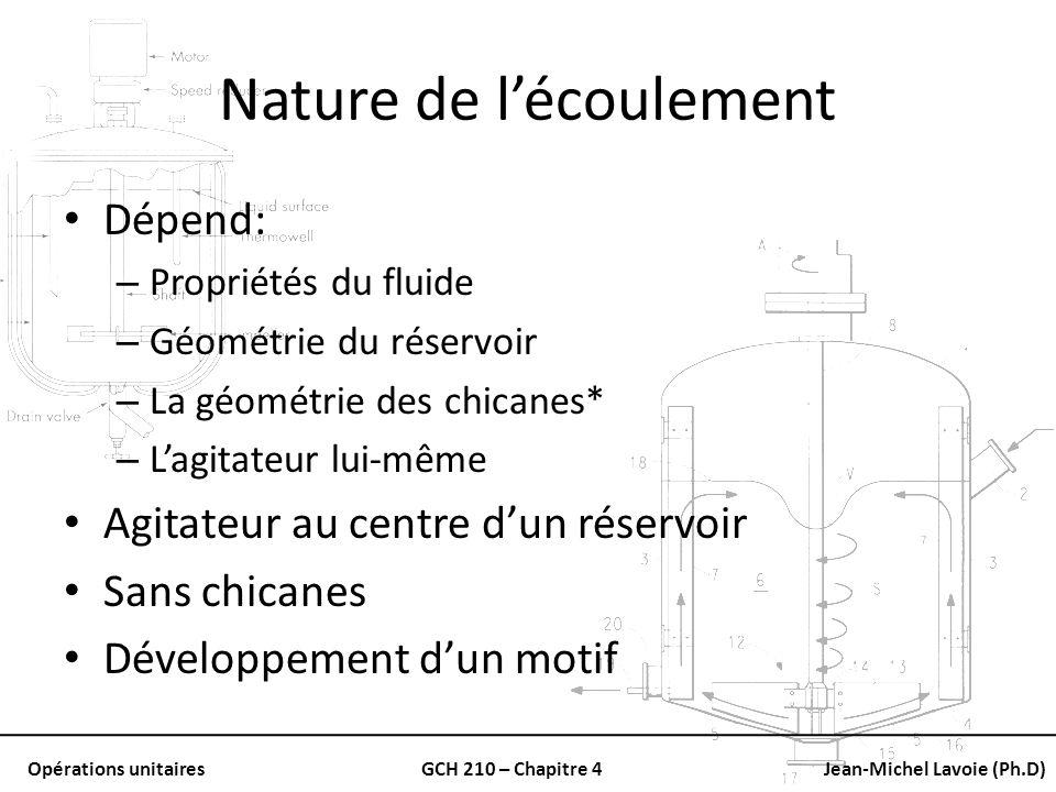 Opérations unitairesGCH 210 – Chapitre 4Jean-Michel Lavoie (Ph.D) Nature de lécoulement Dépend: – Propriétés du fluide – Géométrie du réservoir – La g