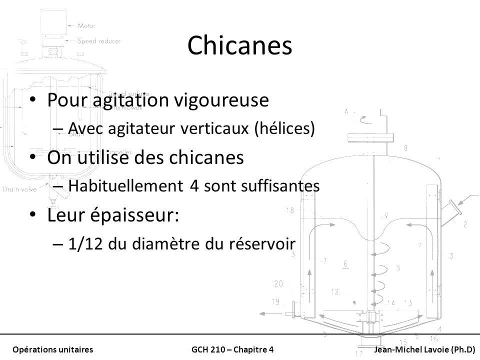 Opérations unitairesGCH 210 – Chapitre 4Jean-Michel Lavoie (Ph.D) Chicanes Pour agitation vigoureuse – Avec agitateur verticaux (hélices) On utilise d