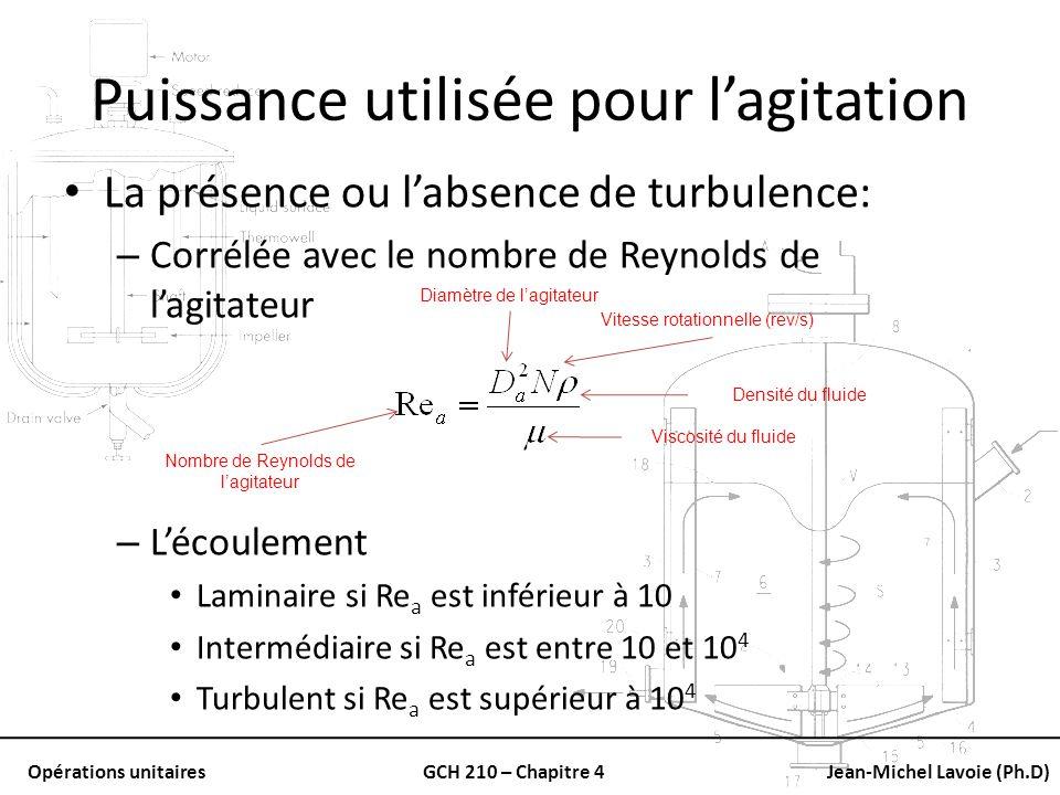 Opérations unitairesGCH 210 – Chapitre 4Jean-Michel Lavoie (Ph.D) Puissance utilisée pour lagitation La présence ou labsence de turbulence: – Corrélée