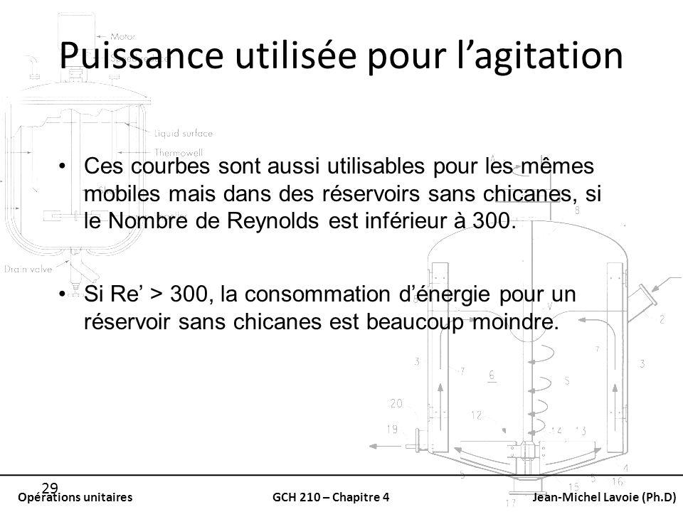 Opérations unitairesGCH 210 – Chapitre 4Jean-Michel Lavoie (Ph.D) 29 Puissance utilisée pour lagitation Ces courbes sont aussi utilisables pour les mê