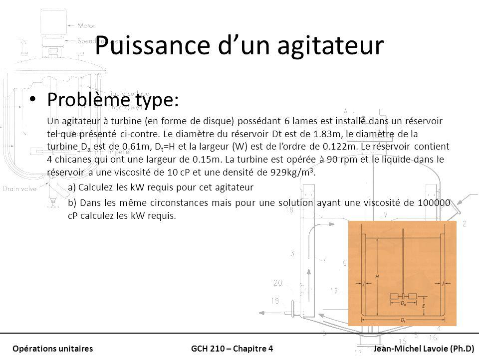 Opérations unitairesGCH 210 – Chapitre 4Jean-Michel Lavoie (Ph.D) Puissance dun agitateur Problème type: Un agitateur à turbine (en forme de disque) p