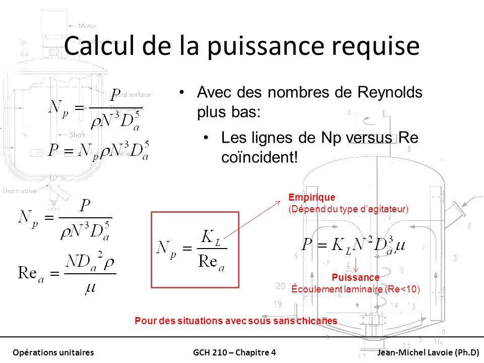 Opérations unitairesGCH 210 – Chapitre 4Jean-Michel Lavoie (Ph.D) Calcul de la puissance requise Avec des nombres de Reynolds plus bas: Les lignes de