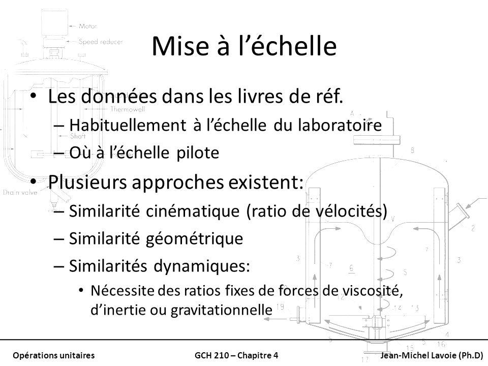 Opérations unitairesGCH 210 – Chapitre 4Jean-Michel Lavoie (Ph.D) Mise à léchelle Les données dans les livres de réf. – Habituellement à léchelle du l