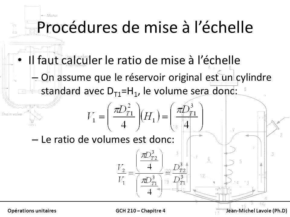 Opérations unitairesGCH 210 – Chapitre 4Jean-Michel Lavoie (Ph.D) Procédures de mise à léchelle Il faut calculer le ratio de mise à léchelle – On assu