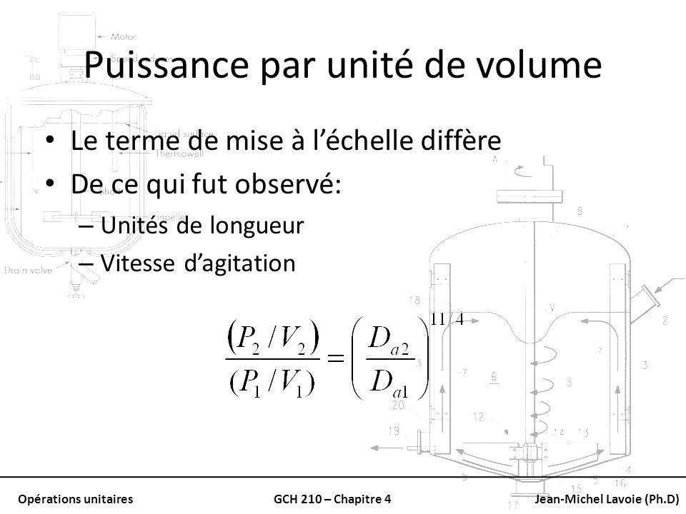 Opérations unitairesGCH 210 – Chapitre 4Jean-Michel Lavoie (Ph.D) Puissance par unité de volume Le terme de mise à léchelle diffère De ce qui fut obse