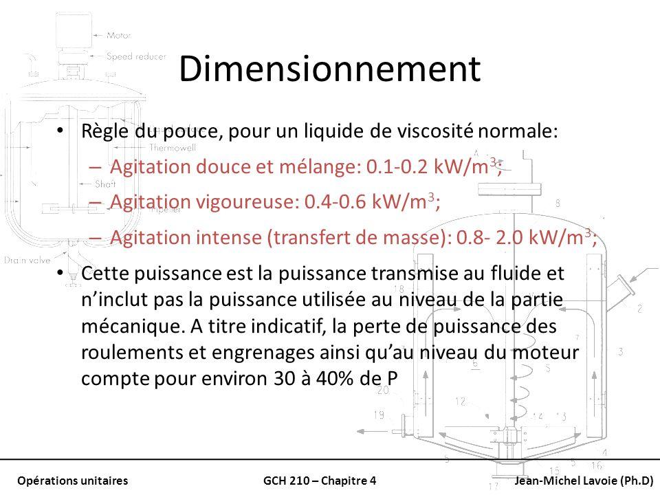 Opérations unitairesGCH 210 – Chapitre 4Jean-Michel Lavoie (Ph.D) Dimensionnement Règle du pouce, pour un liquide de viscosité normale: – Agitation do