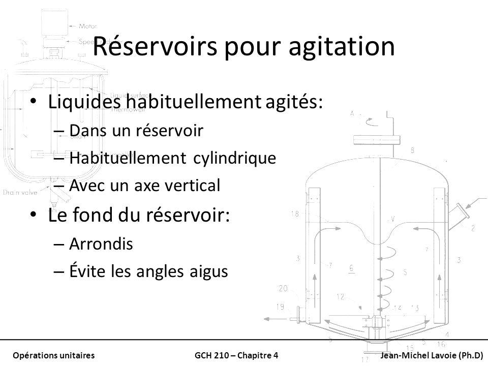 Opérations unitairesGCH 210 – Chapitre 4Jean-Michel Lavoie (Ph.D) Réservoirs pour agitation Liquides habituellement agités: – Dans un réservoir – Habi