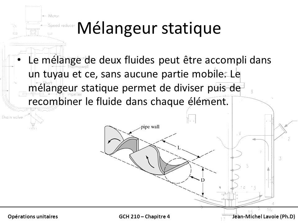 Opérations unitairesGCH 210 – Chapitre 4Jean-Michel Lavoie (Ph.D) Mélangeur statique Le mélange de deux fluides peut être accompli dans un tuyau et ce