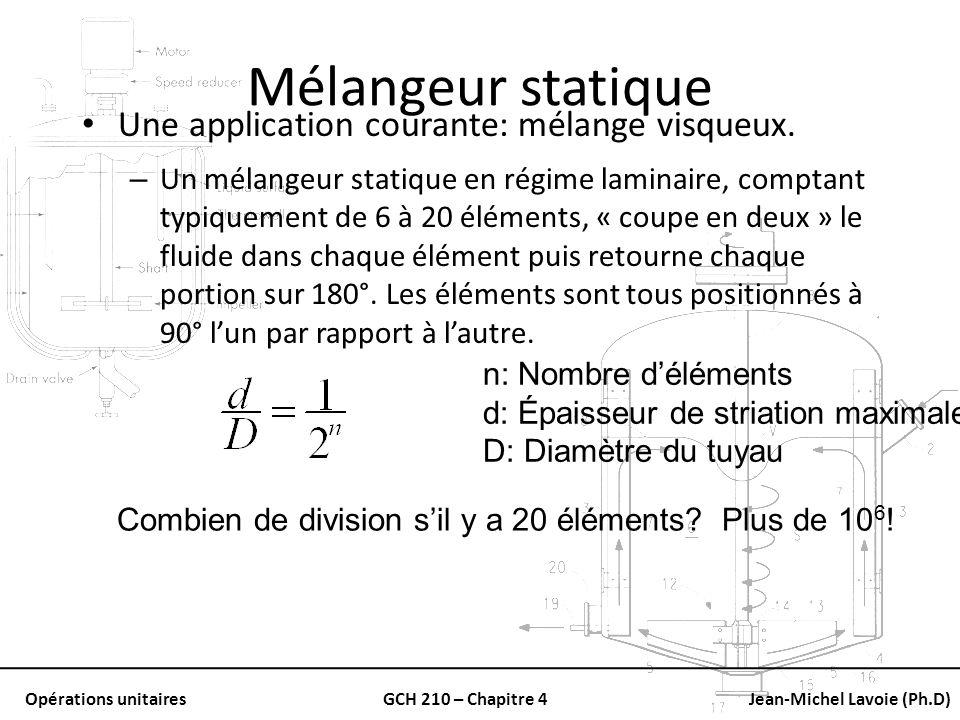 Opérations unitairesGCH 210 – Chapitre 4Jean-Michel Lavoie (Ph.D) Mélangeur statique Une application courante: mélange visqueux. – Un mélangeur statiq