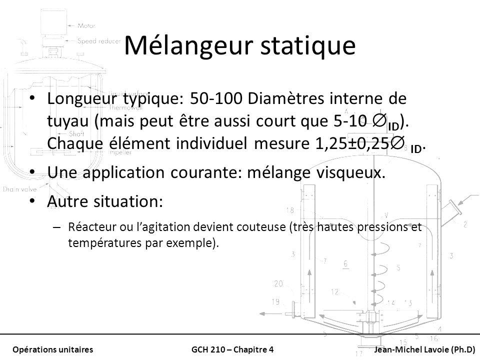 Opérations unitairesGCH 210 – Chapitre 4Jean-Michel Lavoie (Ph.D) Mélangeur statique Longueur typique: 50-100 Diamètres interne de tuyau (mais peut êt