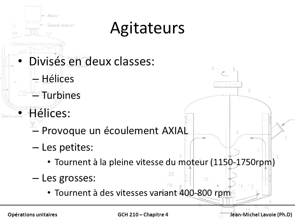Opérations unitairesGCH 210 – Chapitre 4Jean-Michel Lavoie (Ph.D) Agitateurs Divisés en deux classes: – Hélices – Turbines Hélices: – Provoque un écou