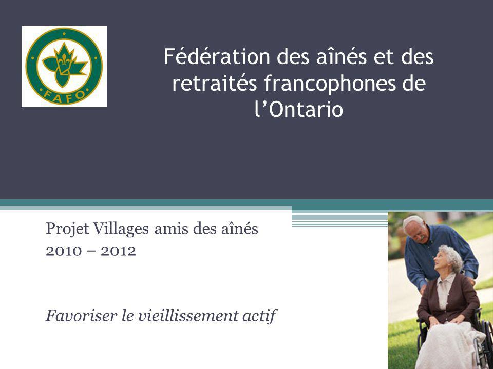 Critères de sélection (suite) c) Sengager pour toute la durée du projet (jusquen mars 2012); d) Établir un portrait global de son village ou de sa communauté selon les paramètres présentés cidessous; - Présentation du village ou de la communauté (historique, dynamisme, développement) - Démographie du village (population globale approximative, ratio approximatif francophones/anglophones, ratio daînés et surtout daînés francophones, etc.) - Selon vous, quels sont les services existants pour les aînés .