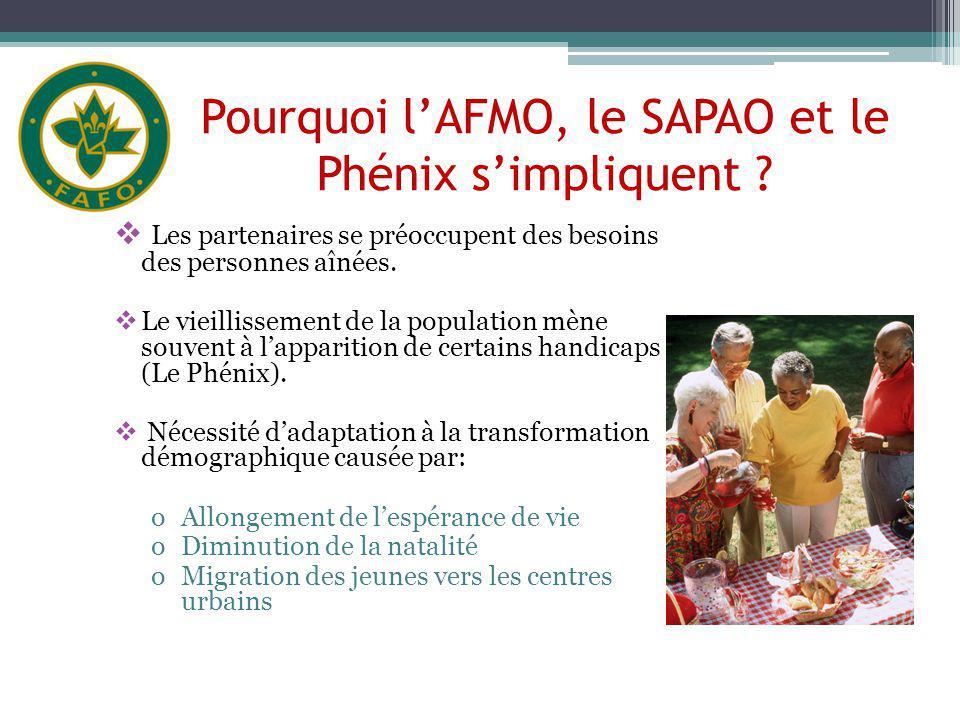 Pourquoi lAFMO, le SAPAO et le Phénix simpliquent ? Les partenaires se préoccupent des besoins des personnes aînées. Le vieillissement de la populatio