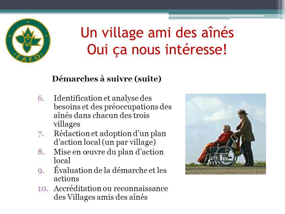 Un village ami des aînés Oui ça nous intéresse! Démarches à suivre (suite) 6.Identification et analyse des besoins et des préoccupations des aînés dan