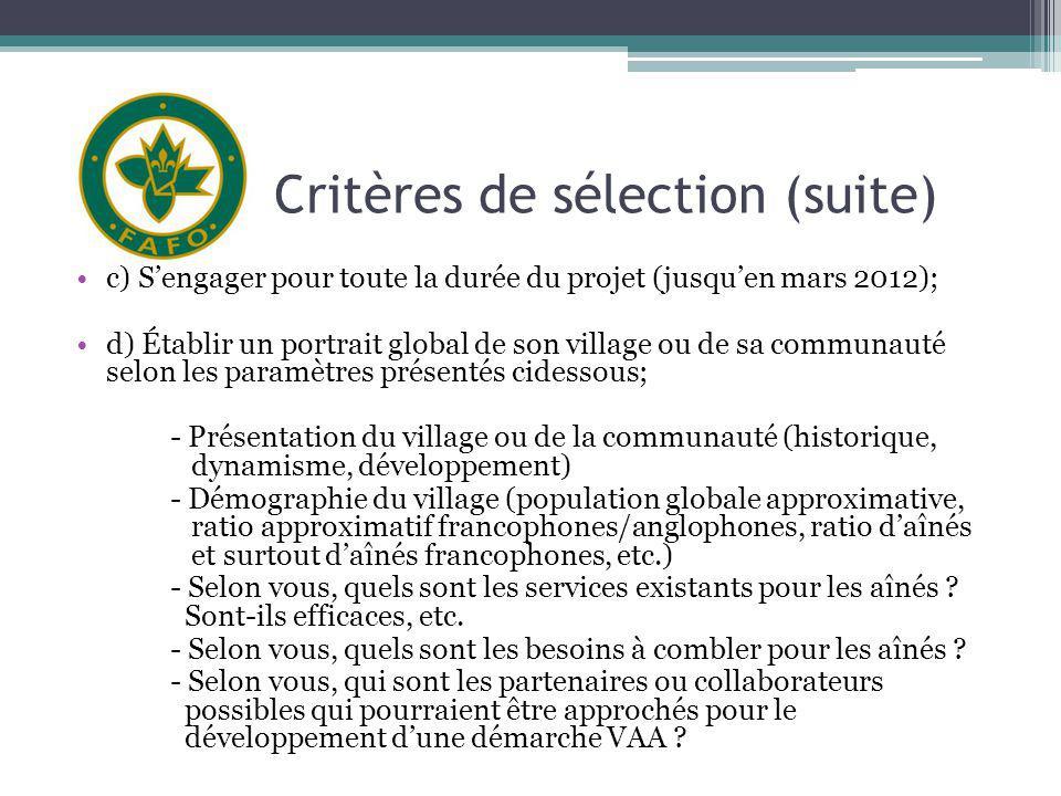 Critères de sélection (suite) c) Sengager pour toute la durée du projet (jusquen mars 2012); d) Établir un portrait global de son village ou de sa com