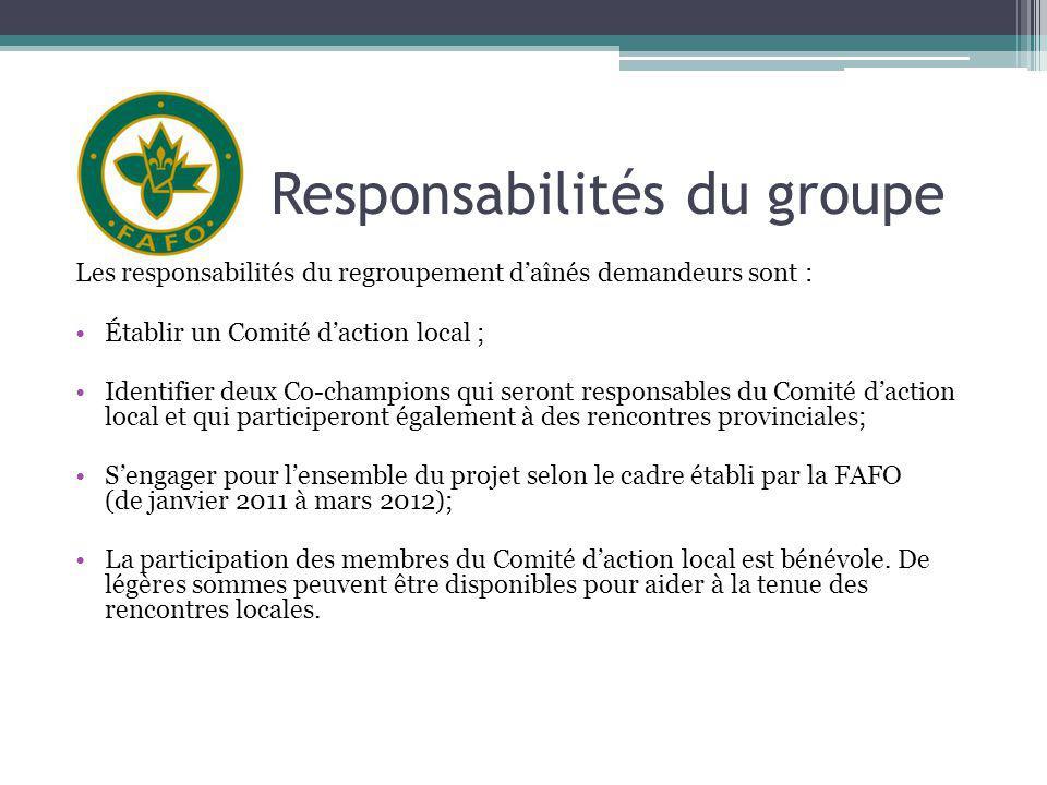 Responsabilités du groupe Les responsabilités du regroupement daînés demandeurs sont : Établir un Comité daction local ; Identifier deux Co-champions