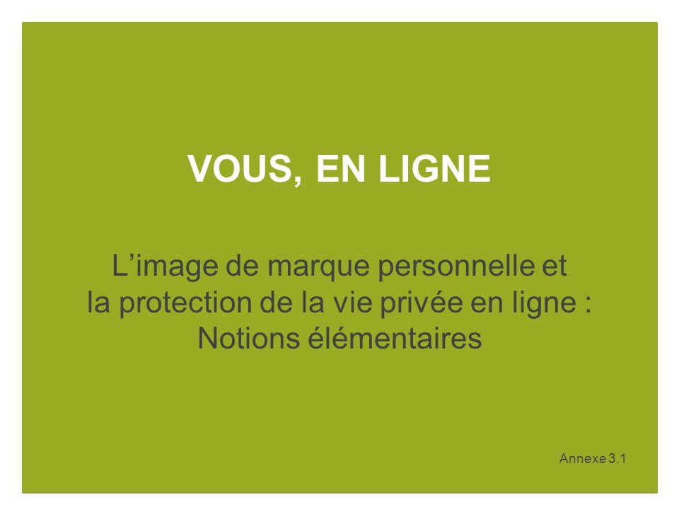Annexe 3.1 VOUS, EN LIGNE Limage de marque personnelle et la protection de la vie privée en ligne : Notions élémentaires