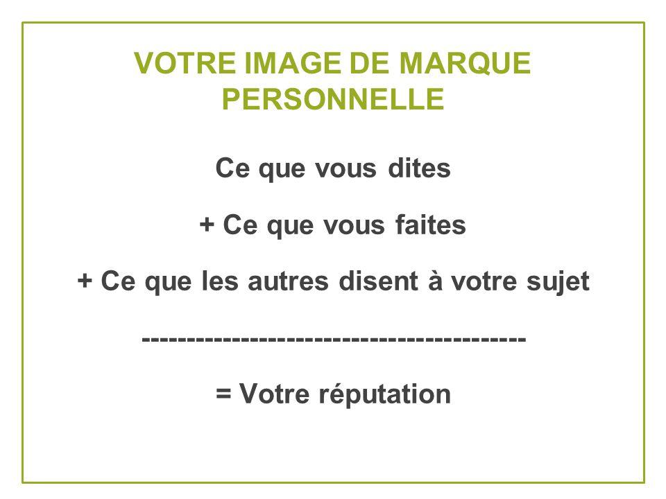 VOTRE IMAGE DE MARQUE PERSONNELLE Ce que vous dites + Ce que vous faites + Ce que les autres disent à votre sujet ------------------------------------------ = Votre réputation