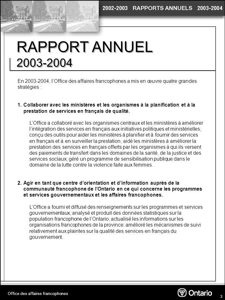 4 RAPPORT ANNUEL 2003-2004 3.Concevoir, en collaboration avec le gouvernement du Canada et dautres gouvernements provinciaux et territoriaux, une approche plus concertée en ce qui concerne les affaires francophones.