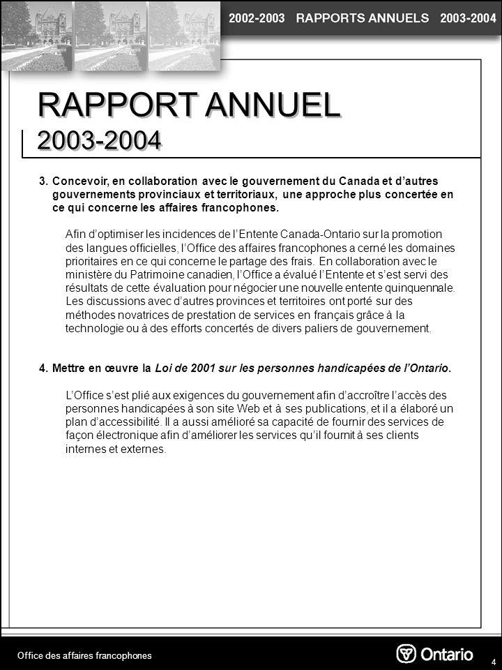 5 RAPPORT ANNUEL 2003-2004 Office des affaires francophones Dépenses ministérielles (millions $) Chiffres réels 2003-2004 Fonctionnement3 072 898 Effectif (au 31 mars 2004) 15
