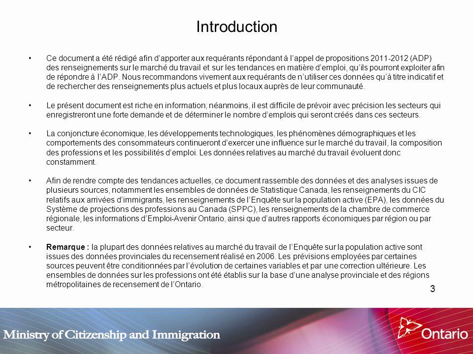 3 Introduction Ce document a été rédigé afin dapporter aux requérants répondant à lappel de propositions 2011-2012 (ADP) des renseignements sur le marché du travail et sur les tendances en matière demploi, quils pourront exploiter afin de répondre à lADP.