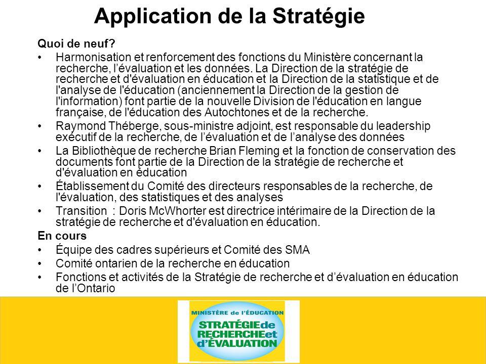 Application de la Stratégie Quoi de neuf.
