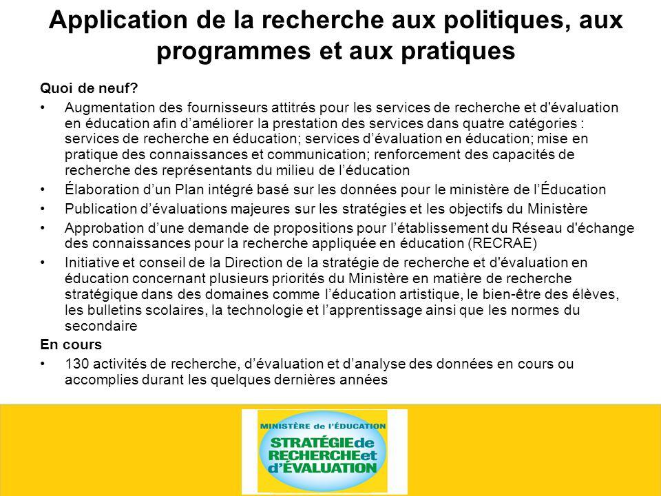 Application de la recherche aux politiques, aux programmes et aux pratiques Quoi de neuf.