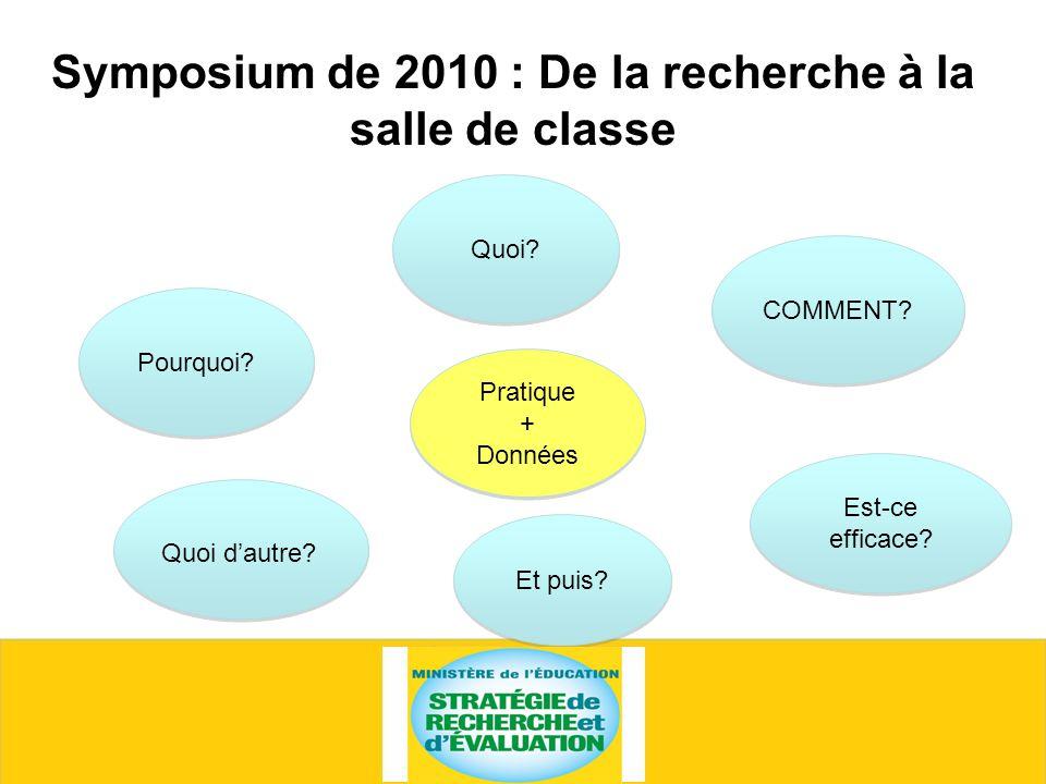 Symposium de 2010 : De la recherche à la salle de classe Quoi.