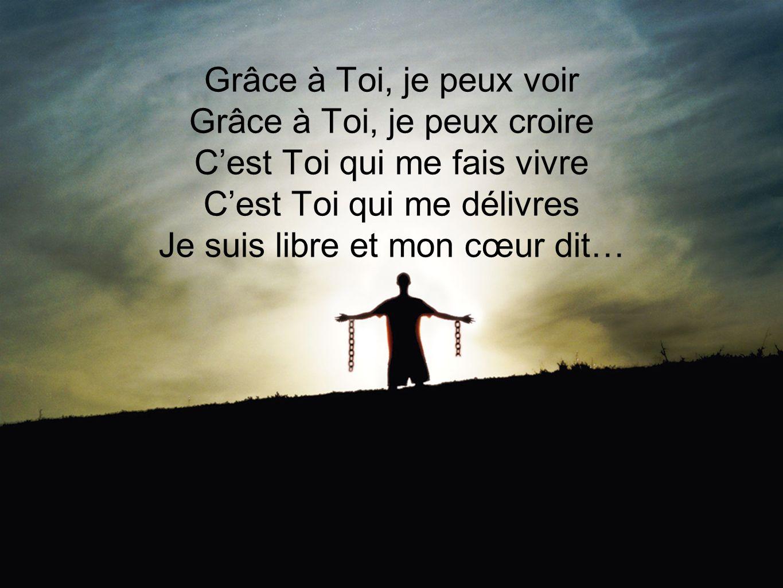 Grâce à Toi, je peux voir Grâce à Toi, je peux croire Cest Toi qui me fais vivre Cest Toi qui me délivres Je suis libre et mon cœur dit…
