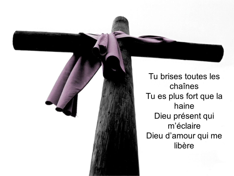 Tu brises toutes les chaînes Tu es plus fort que la haine Dieu présent qui méclaire Dieu damour qui me libère