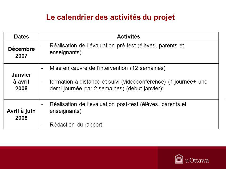 DatesActivités Décembre 2007 -Réalisation de lévaluation pré-test (élèves, parents et enseignants).