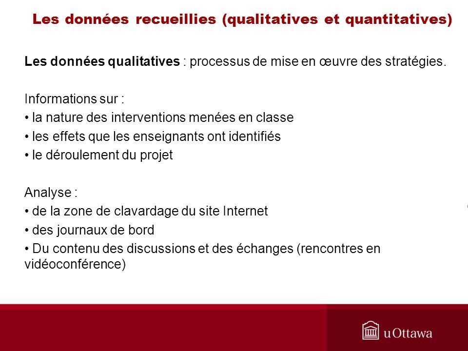 Les données recueillies (qualitatives et quantitatives) Les données qualitatives : processus de mise en œuvre des stratégies.