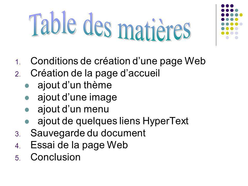 1.Pouvoir créer une page Web sur un réseau 2.Avoir assez despace pour sauver votre page Web 3.Création du dossier public_html sur N: 4.Tout sauvegardé sur public_html du N: 5.Création de page Word en format HTML : Fichier / Nouveau / Page Web à droite