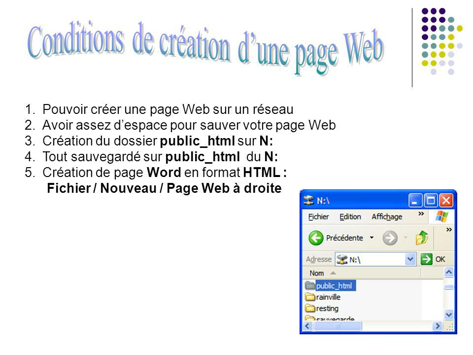 1.Pouvoir créer une page Web sur un réseau 2.Avoir assez despace pour sauver votre page Web 3.Création du dossier public_html sur N: 4.Tout sauvegardé