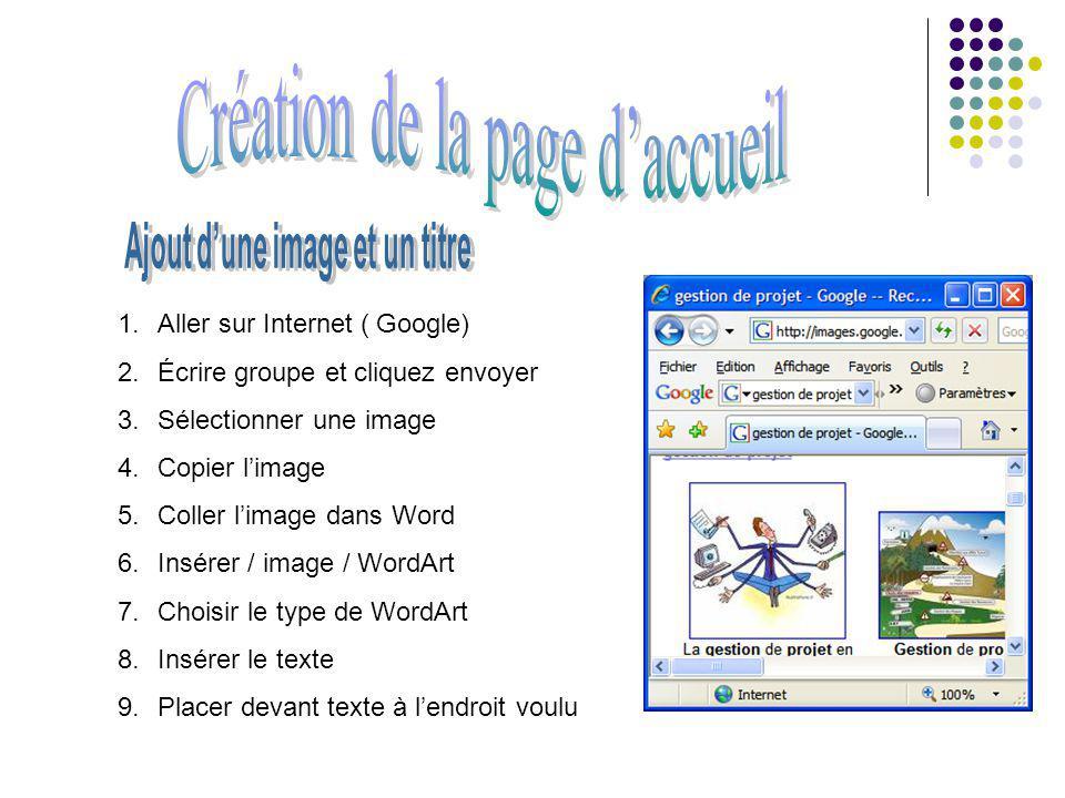 1.Aller sur Internet ( Google) 2.Écrire groupe et cliquez envoyer 3.Sélectionner une image 4.Copier limage 5.Coller limage dans Word 6.Insérer / image / WordArt 7.Choisir le type de WordArt 8.Insérer le texte 9.Placer devant texte à lendroit voulu