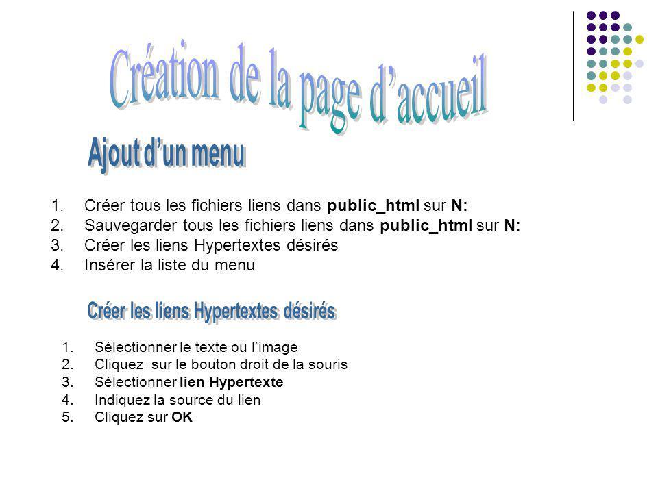 1. Créer tous les fichiers liens dans public_html sur N: 2. Sauvegarder tous les fichiers liens dans public_html sur N: 3. Créer les liens Hypertextes