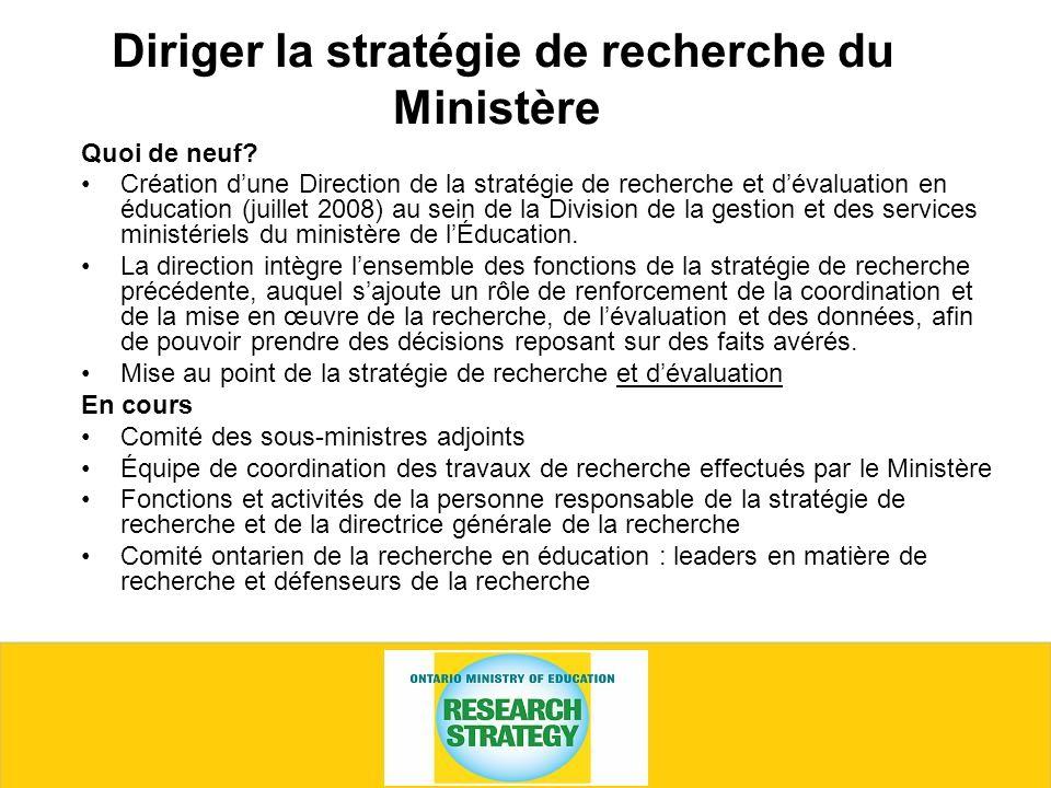 Diriger la stratégie de recherche du Ministère Quoi de neuf.
