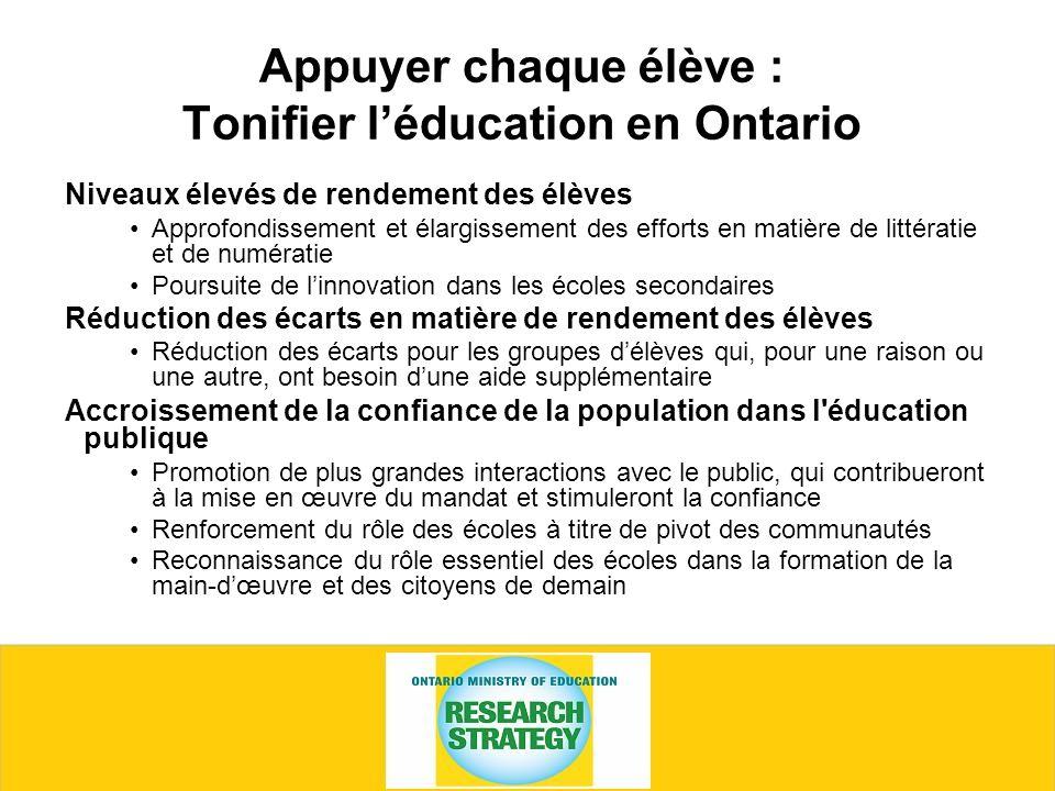 Appuyer chaque élève : Tonifier léducation en Ontario Niveaux élevés de rendement des élèves Approfondissement et élargissement des efforts en matière de littératie et de numératie Poursuite de linnovation dans les écoles secondaires Réduction des écarts en matière de rendement des élèves Réduction des écarts pour les groupes délèves qui, pour une raison ou une autre, ont besoin dune aide supplémentaire Accroissement de la confiance de la population dans l éducation publique Promotion de plus grandes interactions avec le public, qui contribueront à la mise en œuvre du mandat et stimuleront la confiance Renforcement du rôle des écoles à titre de pivot des communautés Reconnaissance du rôle essentiel des écoles dans la formation de la main-dœuvre et des citoyens de demain