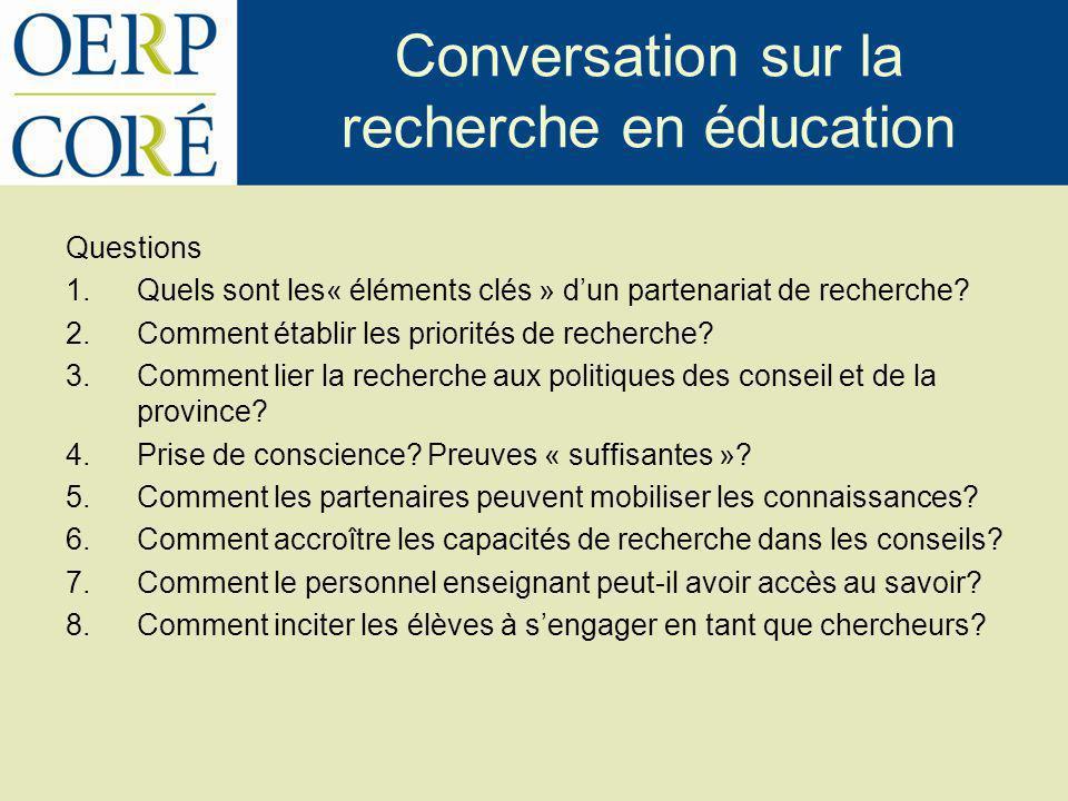 Conversation sur la recherche en éducation Questions 1.Quels sont les« éléments clés » dun partenariat de recherche? 2.Comment établir les priorités d