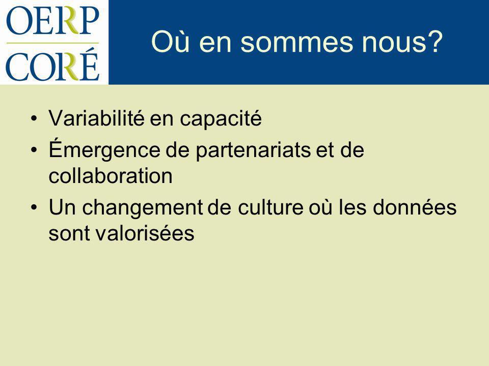 Où en sommes nous? Variabilité en capacité Émergence de partenariats et de collaboration Un changement de culture où les données sont valorisées