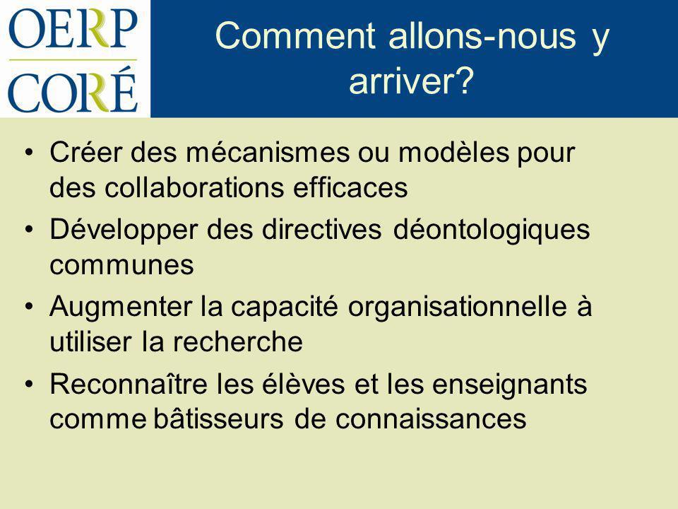 Comment allons-nous y arriver? Créer des mécanismes ou modèles pour des collaborations efficaces Développer des directives déontologiques communes Aug