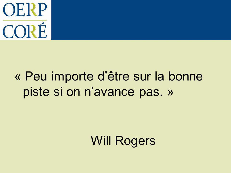 « Peu importe dêtre sur la bonne piste si on navance pas. » Will Rogers