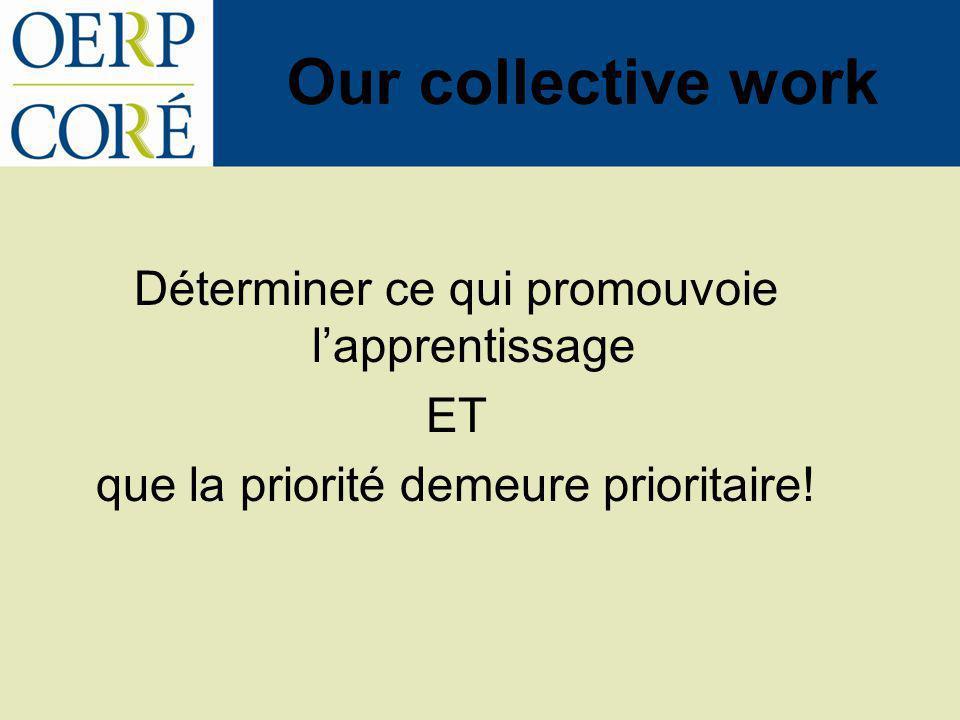 Our collective work Déterminer ce qui promouvoie lapprentissage ET que la priorité demeure prioritaire!