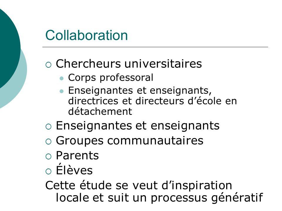 Collaboration Chercheurs universitaires Corps professoral Enseignantes et enseignants, directrices et directeurs décole en détachement Enseignantes et