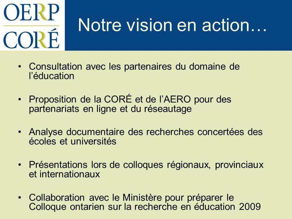 Notre vision en action… Consultation avec les partenaires du domaine de léducation Proposition de la CORÉ et de lAERO pour des partenariats en ligne e