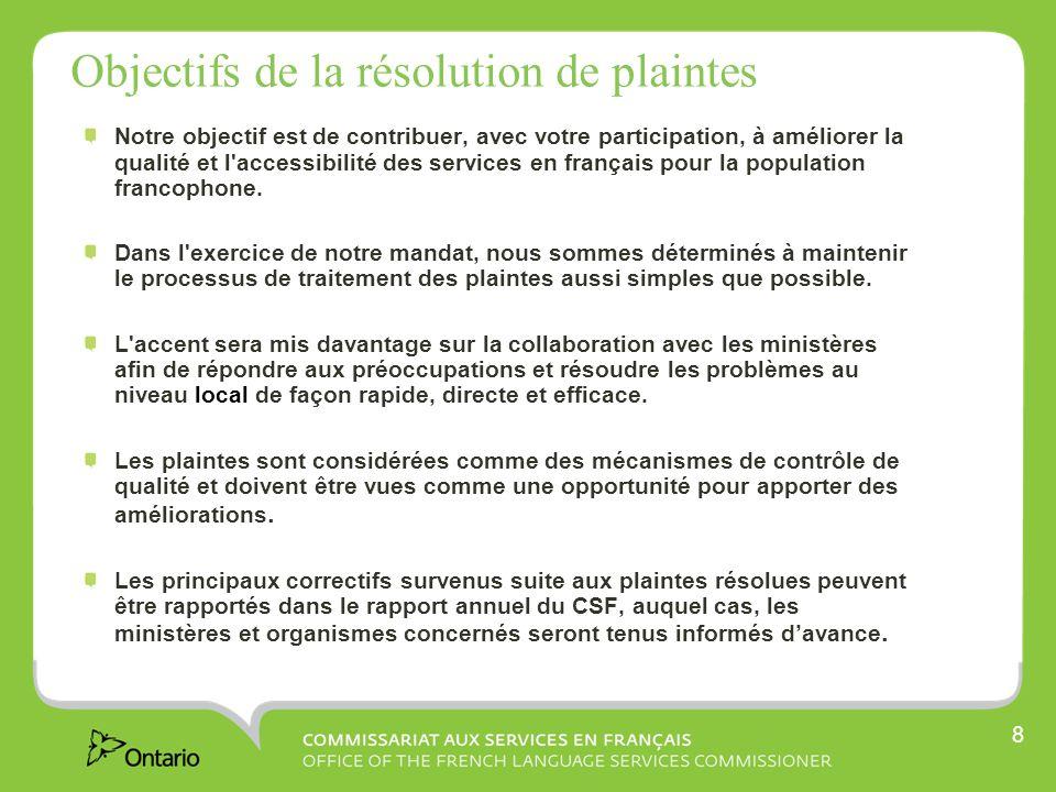 8 Objectifs de la résolution de plaintes Notre objectif est de contribuer, avec votre participation, à améliorer la qualité et l accessibilité des services en français pour la population francophone.