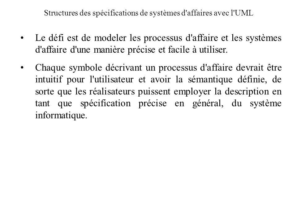 Structures des spécifications de systèmes d'affaires avec l'UML Le défi est de modeler les processus d'affaire et les systèmes d'affaire d'une manière