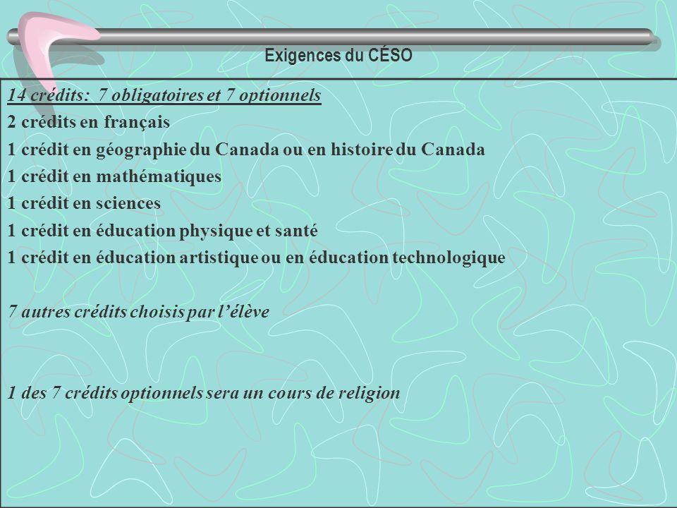 Exigences du CÉSO 14 crédits: 7 obligatoires et 7 optionnels 2 crédits en français 1 crédit en géographie du Canada ou en histoire du Canada 1 crédit