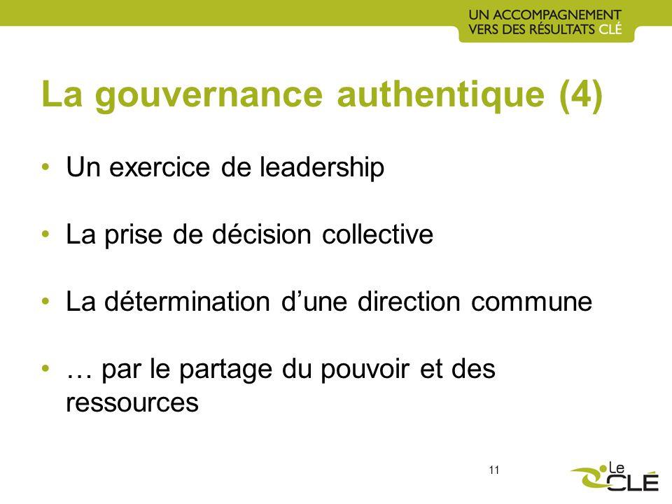 La gouvernance authentique (4) Un exercice de leadership La prise de décision collective La détermination dune direction commune … par le partage du pouvoir et des ressources 11